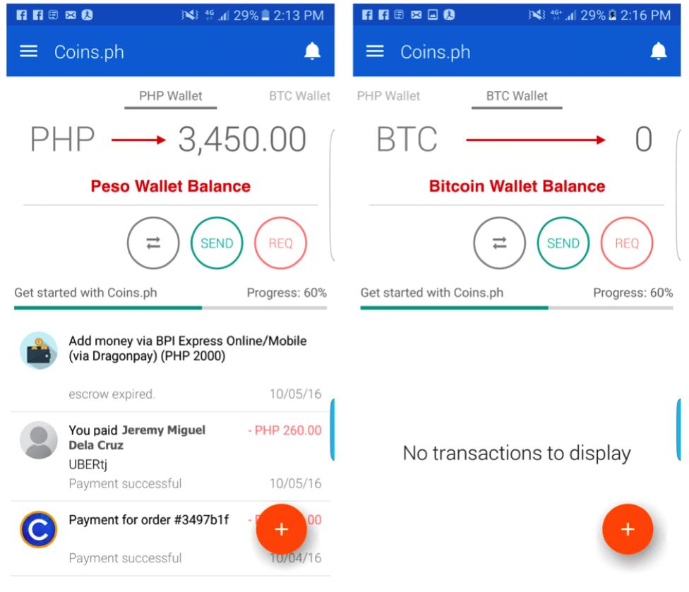 coins.ph php and btc balance
