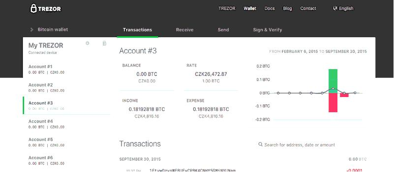 Trezor wallet interface