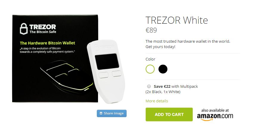 trezor hardware wallet white