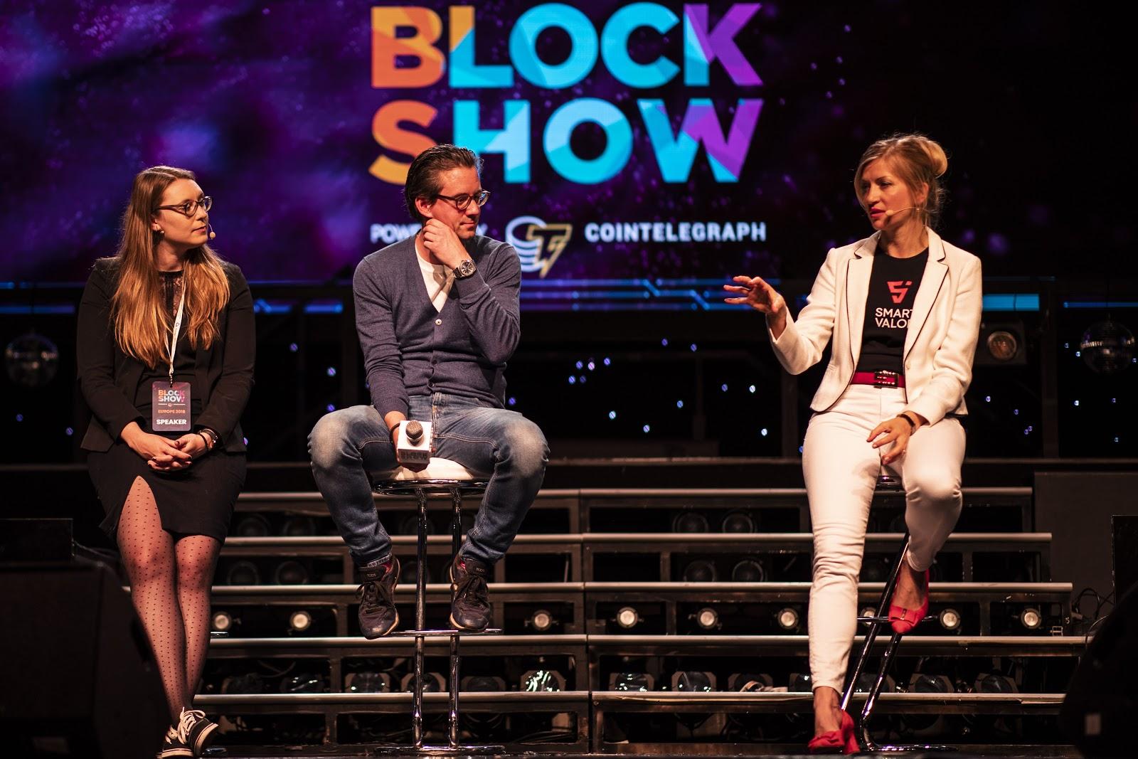 Sarah Jordi, Marc P. Bernegger, and Olga Feldmeier at BlockShow Europe